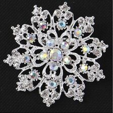 Silver White Heart & Crown Filigree Wedding Cz Diamante Crystal Brooch Pin