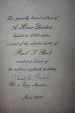 SIGNED LIMITED EDITION*PEARL S BUCK A House Divided*Book Belonged To Pearl Buck