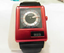RED DKNY ANA-DIGI WITH DIGITAL SECONS WATCH- ZENITH FUTUR TIME COMMAND DESIGN