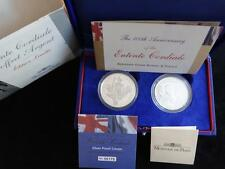 2004 SILVER PROOF UK £5 FRANCE 1 1/2 EURO COINS BOX + COA'S ENTENTE CORDIALE