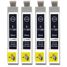 4 Black Ink Cartridges for Epson Stylus D78 DX5000 DX8400 BX600FW SX200 SX515W