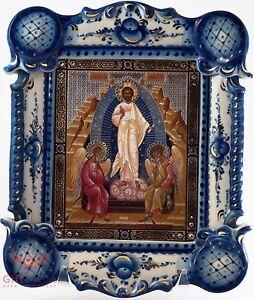 Porcelain Gzhel Christian Icon Easter Resurrection of Jesus Воскресение Господне