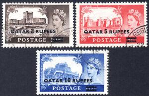 Qatar 1957 QEII high values, SG.13/15, VFU, cat.£30