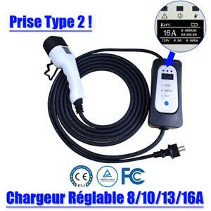 Station Recharge Chargeur véhicule électrique EV Type 2 Réglable 8 à 16A Qualité
