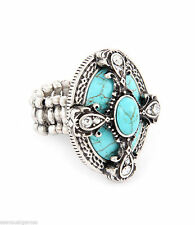 Natural Stone Cluster Woman's Stretch Ring Aqua Crystals Adjustable Stretch
