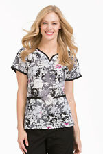 "{XS} Women's Peaches Medical Scrub Top ""Vertical Bliss"" (4389VRBL)"