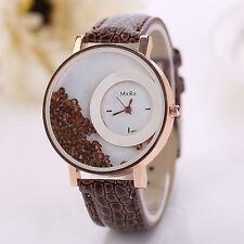 Hot Women Leather Quicksand Rhinestone Bracelet Analog Quartz Ladies Wrist Watch