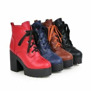 Women Block Heel Non-slip Platform Lace Ups Motor Casual Ankle Boots 41/42/43 D