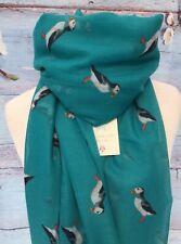CORNISH PUFFIN TEAL BLUE BIRD ANIMAL SCARF GIFT FRIEND PRESENT BIRDS PUFFINS