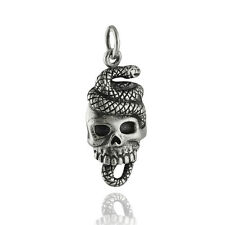 Snake and Skull Charm - 925 Sterling Silver - Gothic Halloween Pendant  NEW