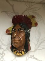 Vintage American  Indian Bossons/Tecumseh Shawnee Chalkware Cheif Head