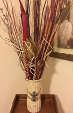 Natural Pods and Grass Arrangement in 10 inch hand painted Vase Handmade