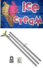 3x5 Advertising Ice Cream Cones Blue Flag Aluminum Pole Kit Set 3'x5'