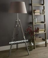 Vintage Grey Wooden Tripod Old Style Nautical Floor Lamp