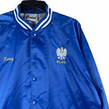 Vintage Polish Legion of American Veterans Cardinal Satin Jacket Blue Large