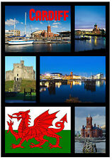 CARDIFF, WALES - SOUVENIR NOVELTY FRIDGE MAGNET - SIGHTS / FLAGS - GIFTS - NEW