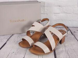 Franco Sarto - Leather Heeled Sandals w/ Asymmetrical Strap - Lilah - Grey 10 W