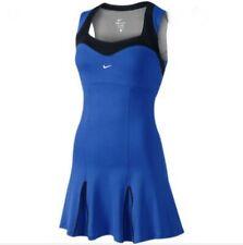 Nike Smash Hard Court Tennis Dress Medium M Blue Black Skirt Solid Pleated