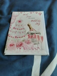Wedding day Card - BNIP- champagne, cake