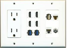 3 Gang 15 Amp  Power Outlet 4 HDMI+2 USB 3.0+ 1 USB 2.0 Cat5e/6 Coax Wall Plate