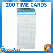 200 x Employee Bundi Time Clock Cards Cardboard Card 84x185mm