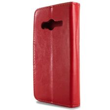 For Samsung Galaxy Ace NXT Wallet Case - Red Folio Faux Leather Pouch LCD