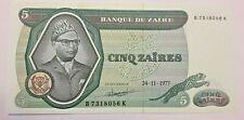 ZAIRE CONGO  5 zaires  1977 P21b Uncirculated Banknotes #F2#