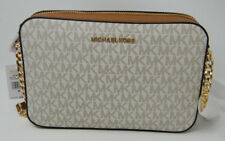 New Michael Kors Vanilla Signature Acorn Leather East West Crossbody Purse $228