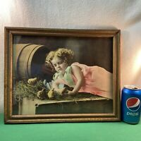 Vtg 20-30's Farm Girl Chick Chickens Painted Over picture framed Photo Art