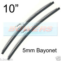 "PAIR OF 10"" INCH STAINLESS STEEL CLASSIC CAR WIPER BLADES 5mm BAYONET FITTING"