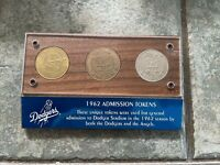 LOS Angeles Dodgers 1962 Admission Tokens with COA Letter from Dodgers