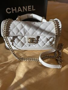 Pre-owned White Caviar Chanel Handbag AUTHENTIC