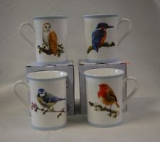 MacNeil Birds Set of 4 Mugs Robin Kingfisher Blue TIT Owl