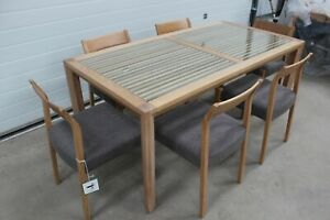 WILLIS & GAMBIER HADLEIGH, OAK & GLASS DINING TABLE+ 6 GREY/WOODEN DINING CHAIRS