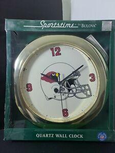 Arizona Cardinals Sportstime By Bulova Quartz Wall Clock Factory Sealed