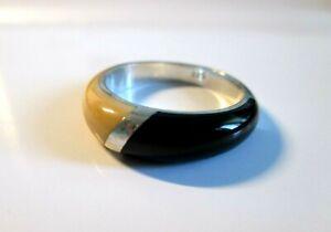 Eleganter Onyx / Bein Ring 925 Silber