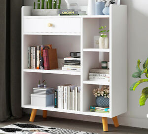 Modern Wooden Book Shelves Storage Shelf Tubes Bookcase Display Shelving Units