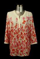 TALBOTS Red Pink Floral Popover Shirt Top Blouse Modern Career LARGE PETITE PL