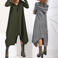 Plus Size Women Ladies Gothic Hooded Irregular Long Hoodie Sweatshirt Maxi Dress
