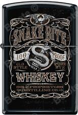 Zippo Snake Bite Whiskey Pure Rye 100 Proof Black Matte Windproof Lighter NEW
