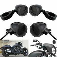 4x LED Motorcycle Turn Signal Light Smoke 41mm Clamp For Harlye Bobber Chopper