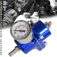 Jdm Universal Adjustable 1 To 140 Psi Fuel Pressure Regulator With Gauge Blue