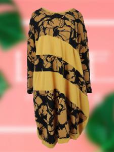NEW Womens Soft Knit LAGENLOOK Print Long Sleeve Knee Length Dress
