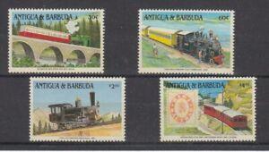 Chemin de Fer - Locomotives Antigua & Barbuda 4 Valeurs (MNH)