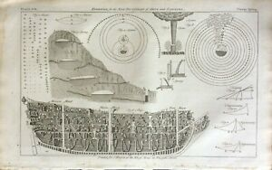 Sailing Ship plan design, celestial planets chart, original Art & Science c1752