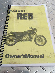 Suzuki RE5 1976  OEM owners manual  , Re-Printed Version , Spiral bound .