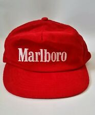 Marlboro Snap Back Red Trucker Cap Hat Corduroy Embroidered - Vintage NEW