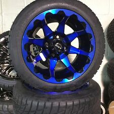 Set Of 4 Golf Cart Rim And Tire Combo CUSTOM BLUE& BLACK FREE SHIPPING!