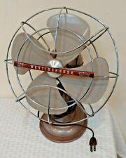 Vintage Westinghouse 10LA4 Rotating Desk Fan Metal Cage Works Movies Art Deco