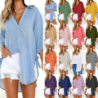 New Women Solid Loose Button Long Sleeve T-Shirt Lace Up Tops Blouse Plus Size